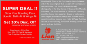 Promo Hotel Lion dengan Boarding Pass