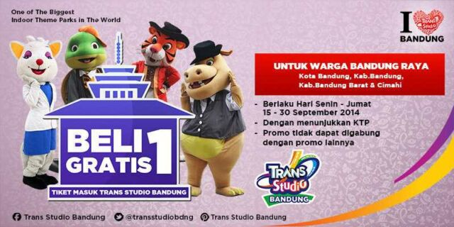 Beli 1 Gratis 1 Trans Studio Bandung khusus Warga Bandung