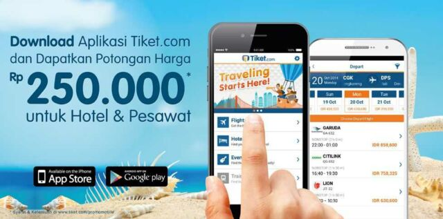 Download aplikasi tiket.com dapat diskon RP 250.000