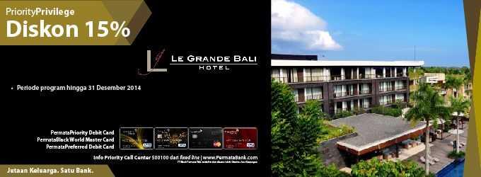 Promo hotel Le Grande Bali dengan Kartu Kredit Bank Permata diskon Hingga 15%