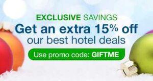 Promo Hotel Exclusive Diskon 15% di Orbitz.com dengan promo code GIFTME