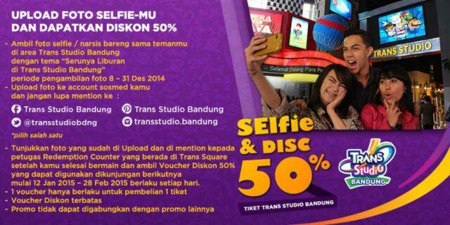 Promo Trans Studio Bandung diskon 50% Upload foto selfie kamu