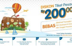 Nikmati diskon tiket pesawat Rp 200.000 dengan melakukan pemebelian hotel di tiket.com