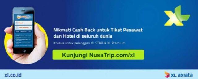 Promo Hotel & Tiket Pesawat XL Axiata di Nusatrip Cashback 6%