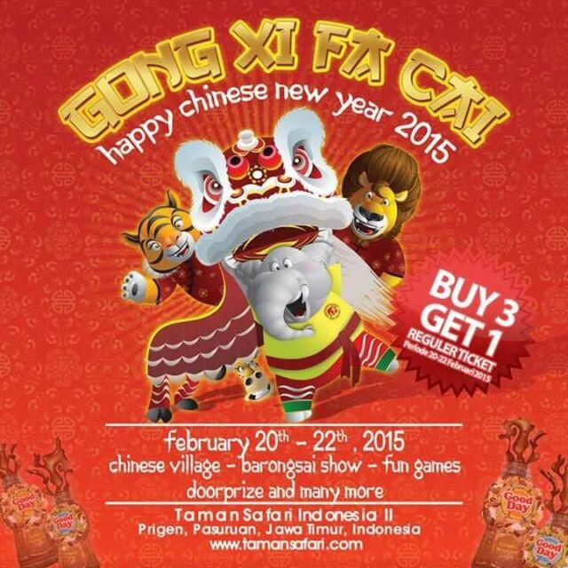 Promo Imlek taman safari II Prigen beli 3 gratis 1 tiket masuk reguler