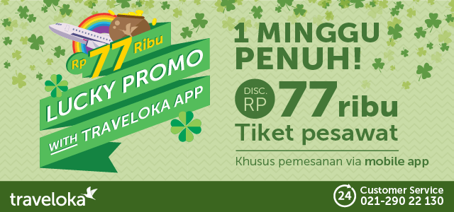 Diskon tiket pesawat Rp 77.000 dengan Traveloka Apps