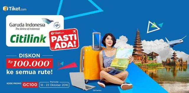 Promo tiket.com Garuda Indonesia dapatkan diskon hingga Rp 100.000 pesan di tiket.com periode hingga 23 Oktober 2016.