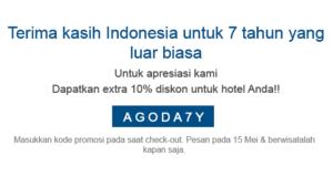 Pesan Hotel Online di Agoda.com dapatkan diskon 10% dengan promo code AGODA7Y