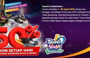 Promo Trans Studio Bandung diskon tiket masuk 50% khusus warga Bandung