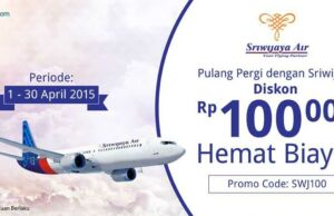 Dapatkan diskon Rp 100.000 tiket pesaawt Sriwijaya dengan kode promo SWJ100