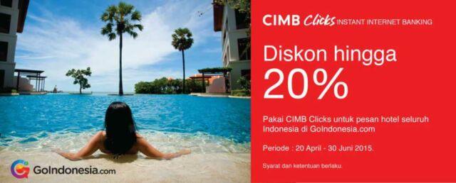Pesan Hotel Online di goindonesia.com dapatkan diskon hingga 20% dengan Cimb Clicks