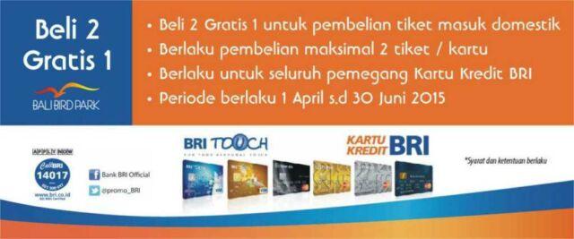 Promo Bali Bird Park kartu kredit BRI Buy 2 Get 1 Free