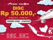 Diskon Rp 50.000 tiket pesawat lion Air dengan Kode Promo di Airpaz.com