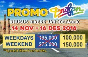 Promo dufan pengendara motoro ber plat B dan F harga tiket masuk hanya Rp 100.000