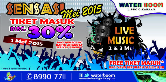 Promo Waterboom cikarang diskon hingga 30% dan tiket masuk gratis