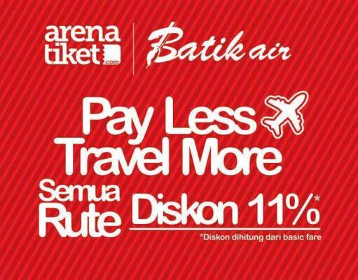Promo tiket pesawat batik air diskon 11% semua rute di Arena Tiket