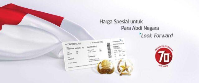 Bentuk apresiasi Garuda kepada Abdi Negara PNS dan Veteran serta keluarga bisa mendapatkan diskon tiket pesawat hingga 70%.