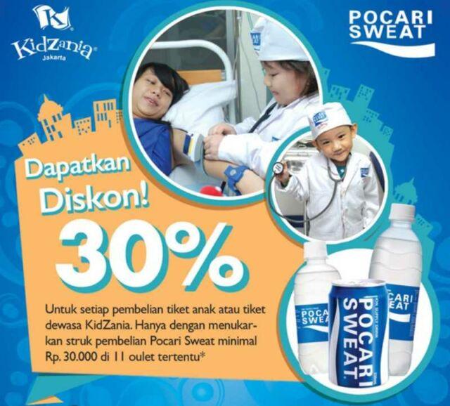 Promo Kidzania Jakarta diskon tiket masuk 30% dengan pembelian pocari sweat seniai Rp 30.000 di outlet tertentu