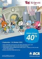 Promo KidZania Jakarta Kartu Kredit dan Flazz BCA diskon tiket masuk hingga 40% untuk orang tua dan Anak-anak diskon 25%.