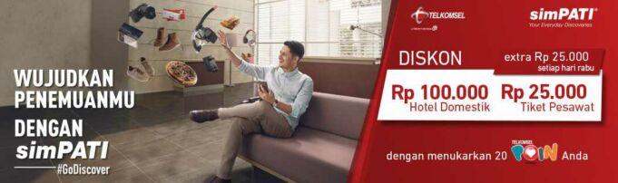 Dapatkan diskon sebesar Rp 100.000 dengan menukarkan Telkomsel Poin dan lakukan pemesanan hotel di pegipegi.com