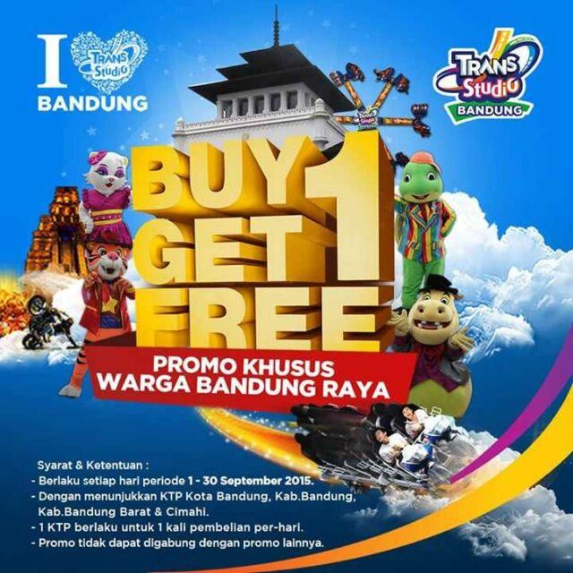 Promo Trans Studio Bandung cukup dengan membayar harga 1 tiket bisa mendapatkan 2 tiket masuk. Promo berlaku untuk Warga bandung dan Sekitarnya