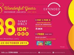 Dalam rangka HUT Waterbom Jakarta ke 8 kamu bisa mendapatkan harga spesial tiket masuk hanya Rp 88.000. serta promo menarik lainnya.