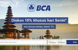 Promo Kartu Kredit BCA Agoda.com nikmati diskon 10% pemesanan hotel khusus hari Senin dan Potongan Harga 7% untuk hari lainnya.