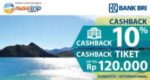 Promo Kartu Kredit BRI Nusatrip dapatkan cashback hingga Rp 120.000 untuk tiket pesawat dan 10% untuk hotel di seluruh dunia.