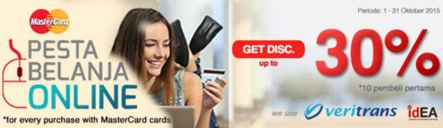 Promo tiket pesawat dan hotel diskon 30% dengan menggunakan kartu kredit berlogo mastercard di beberapa travel agent online.