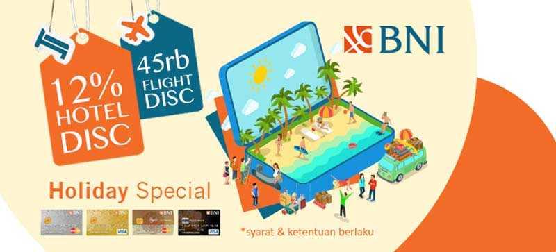 Promo tiket pesawat kartu kredit BNI diskon hingga Rp 45.000 di pegipegi.com