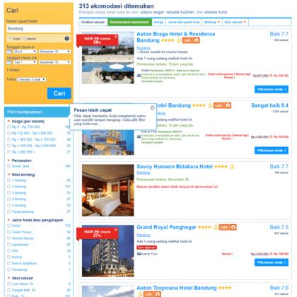 Search dengan kata bandung, pilih tanggal maka kita akan mendapatkan daftar hotel di Bandung. Lalu pilih sort by price atau harga untuk menyusun daftar hotel dari yang termurah.