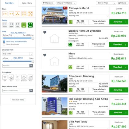 Pilih filter dengan rating ikon hijau senyum lebar untuk mengeluarkan hotel yang reviewnya jelek dari daftar hotel murah di Bandung