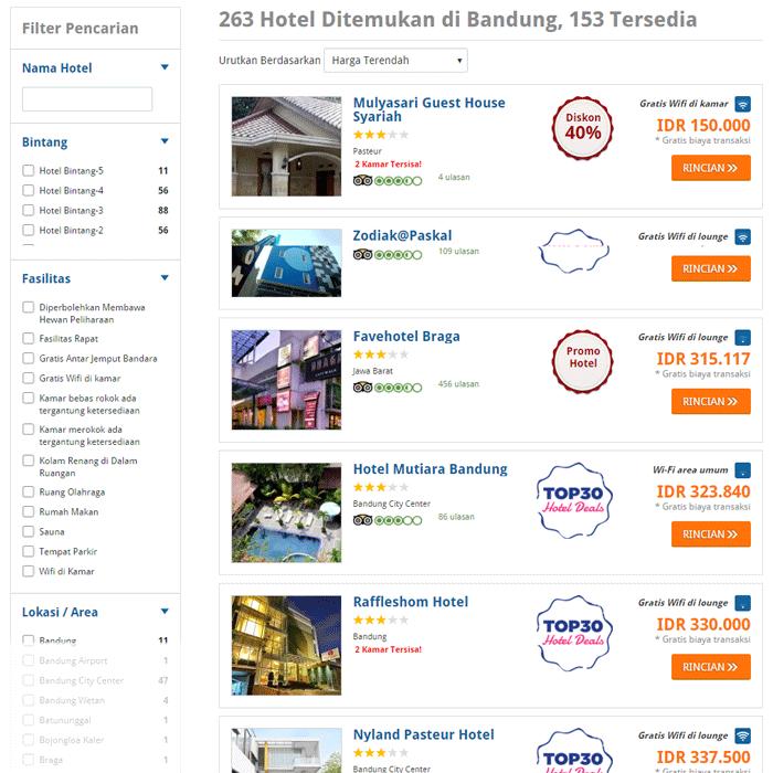 Sort Hasil Dari Harga Termurah Untuk Mendapatkan Dafta Hotel Murah Di Bandung