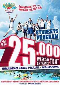 Promo Water Blaster Semarang khusus pelajar harga tiket masuk hanya Rp 25.000