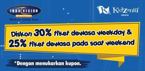 Promo Indovison Kidzania Jakarta Diskon hingga 30% tiket dewasa.