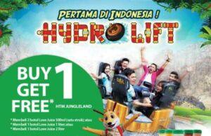 Dengan membeli produk love juice sekarang bisa mendapatkan promo Buy 1 Get 1 Free di Jungle Land.