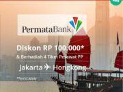Promo tiket pesawat kartu kredit Permata di Via.id diskon Rp 100.000 plus bisa memenangkan 4 tiket PP Jakarta Hongkong.