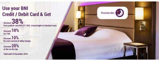 Promo hotel kartu kredit BNI Yogyakarta di Premier Inn Satoria Yogyakarta diskon harga kamar per malam hingga 38%.