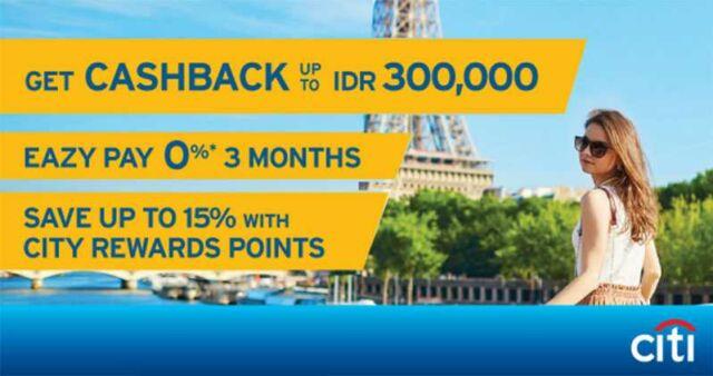 Promo Liburan Citibank Dapatkan cash back hingga Rp 300.000 di Bayu Buana Travel Service, periode hingga 31 Desember 2016.