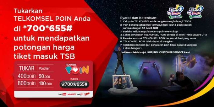 Promo Telkomsel Poin Trans Studio Bandung diskon tiket masuk hingga Rp 100.000.