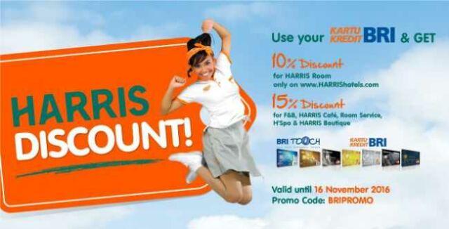 Diskon 10% kartu kredit BRI di Harris Hotel mana saja.