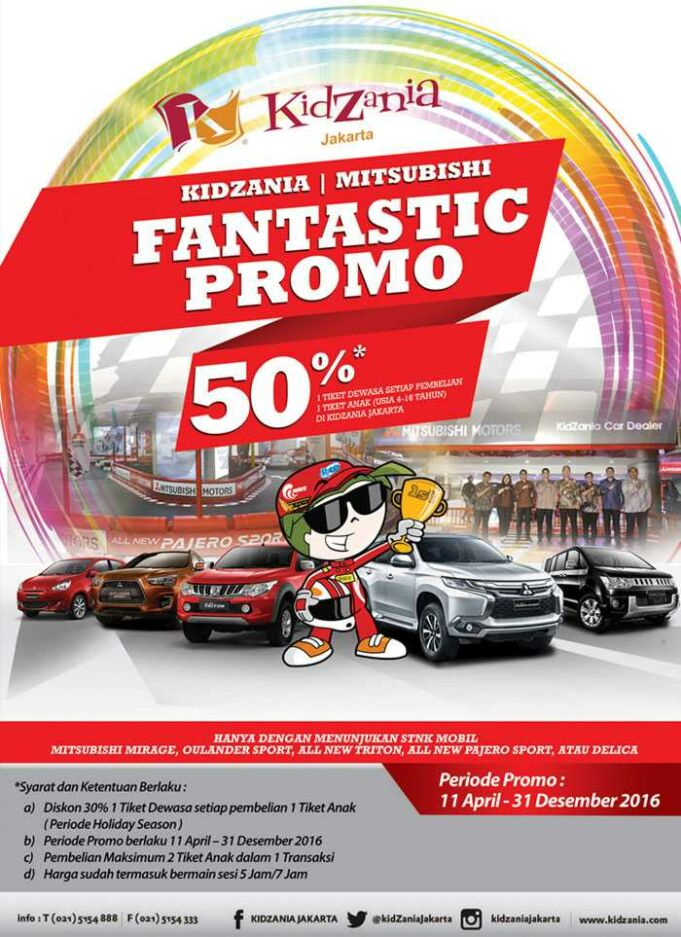 Diskon tiket masuk kidzania Jakarta cukup dengan menunjukkan STNK Mobil Mitsubishi berbagai merk.