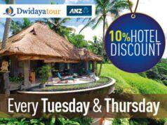 Nikmati potongan harga hotel 10% dari Dwidaya Tour menggunakan kartu kredit ANZ.