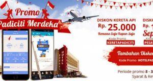 Promo Merdeka diskon hotel, tiket pesawat, dan tiket kereta lakukan pemesanan di Padiciti.