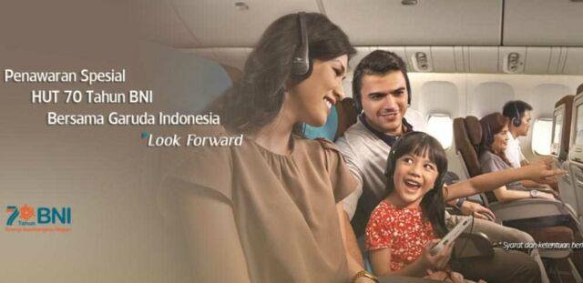 Promo BNI Reward Poin diskon tiket pesawat Garuda Indonesia hingga 50%.