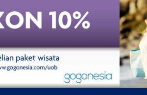 Diskon 10% menggunakan kartu kredit UOB untuk pembelian paket liburan di gogonesia.com tanpa minimum transaksi.