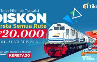 promo tiket kereta api tiket.com selama agustus 2016 bebas ke rute mana saja.