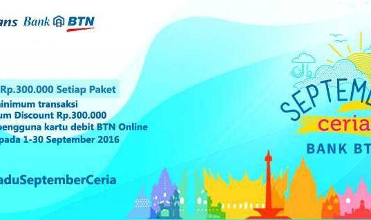 Paket bulan madu diskon hingga Rp 300.000 gunakan Debit Online BTN.