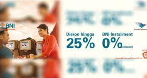 Promo Garuda Indonesia diskon 25% Kartu Kredit BNI periode hingga 15 Desember 2016.