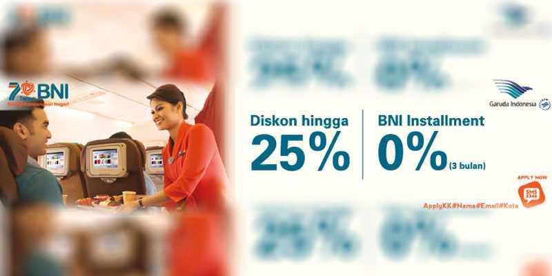 Diskon 25% Tiket Garuda Indonesia Kartu Kredit BNI